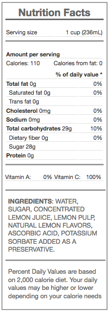 lemonade - nutrition panel