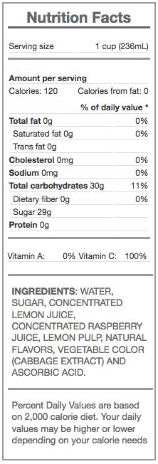 raspberry lemonade - nutrition panel