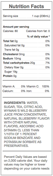 iced tea with wild blueberry - nutrition panel