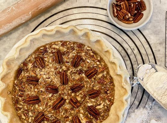 Baked whole pecan pie